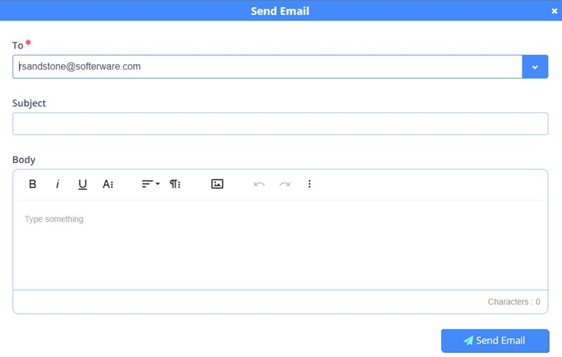 Image of Send email screen